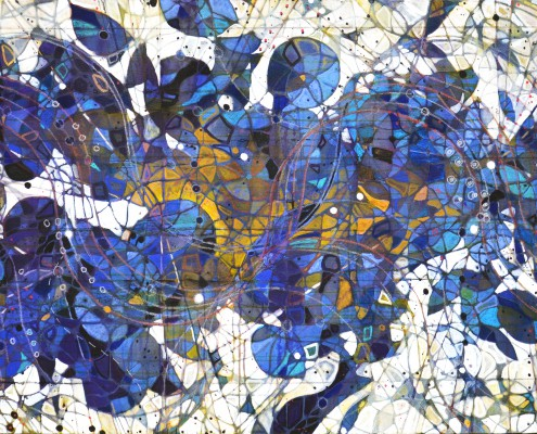 """Origin,"" 2014, mixed media on canvas, 36x72 inches"