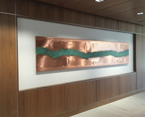 Geometric copper wall art